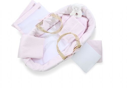 Ten Piece Moses Basket and Cot Bedding Set - Pink Cotton Dream